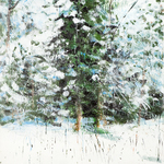 "Snow Cedar, 60"" x 46"", encaustic on canvas, 2008"