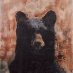 "Looking Bear, 60"" x 50"", encaustic on canvas, 2015"
