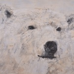 "Polar Bear, 64"" x 72"", encaustic on canvas, 2015"