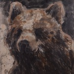 "Spring Bear, 54"" 62"", encaustic on canvas, 2014"