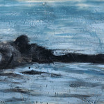 "Swimming Bear, 36"" x 60"", encaustic on canvas, 2011"
