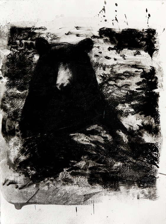 "Winter Bear no.2, 30"" x 22"", charcoal and microcrystalline wax on paper, 2008"